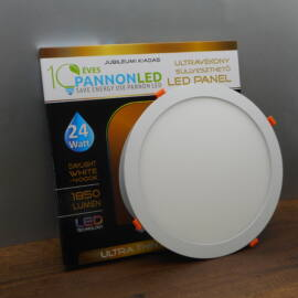 10 DARABOS Mini LED Panel 24 Watt Kerek, Süllyeszthető Napfény fehér